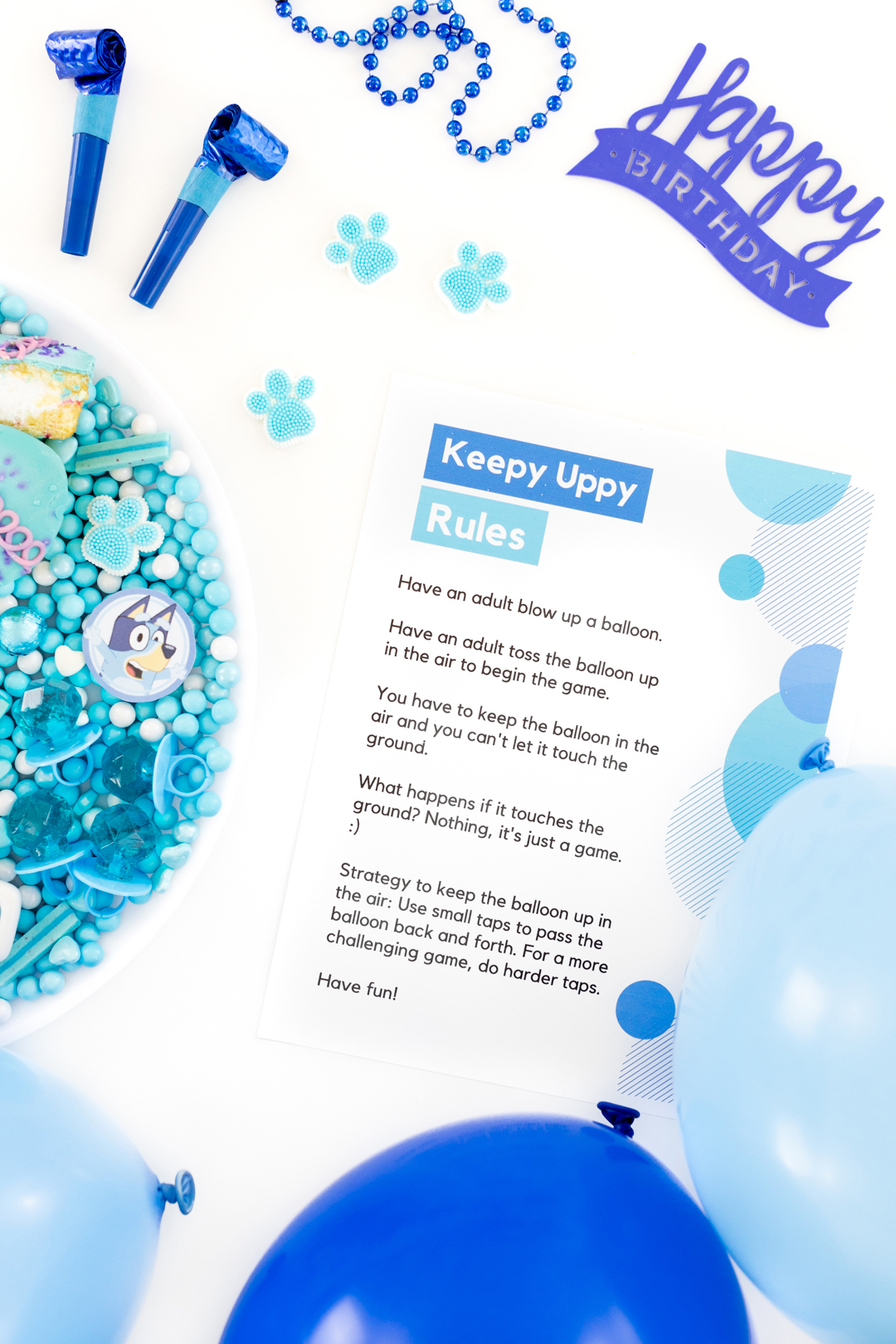 blue balloons and party supplies