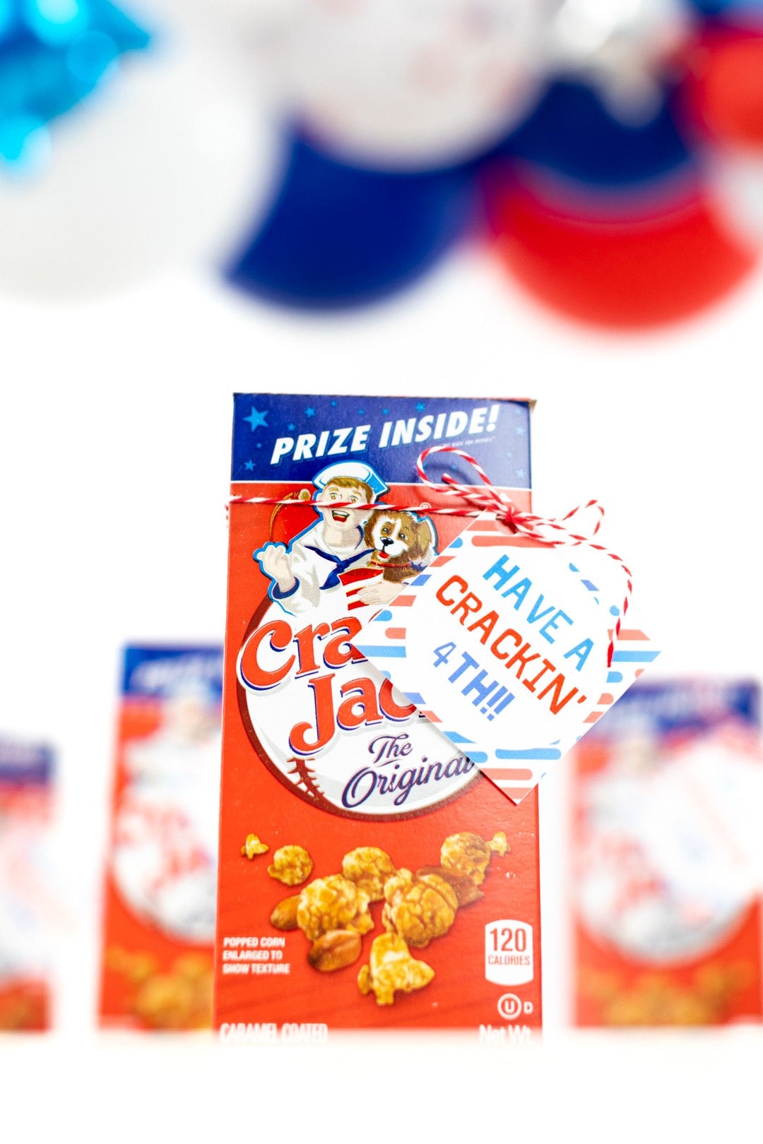 box of cracker jack for a 4th of july party