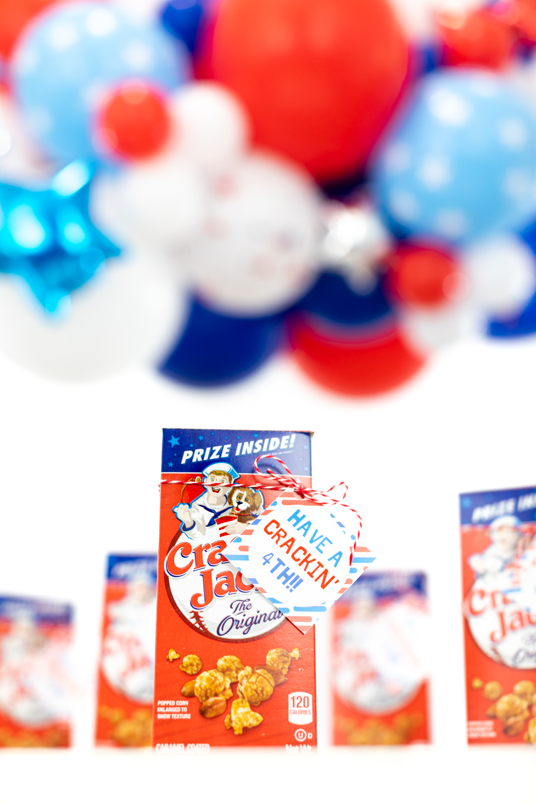 4th of july party with cracker jack boxes