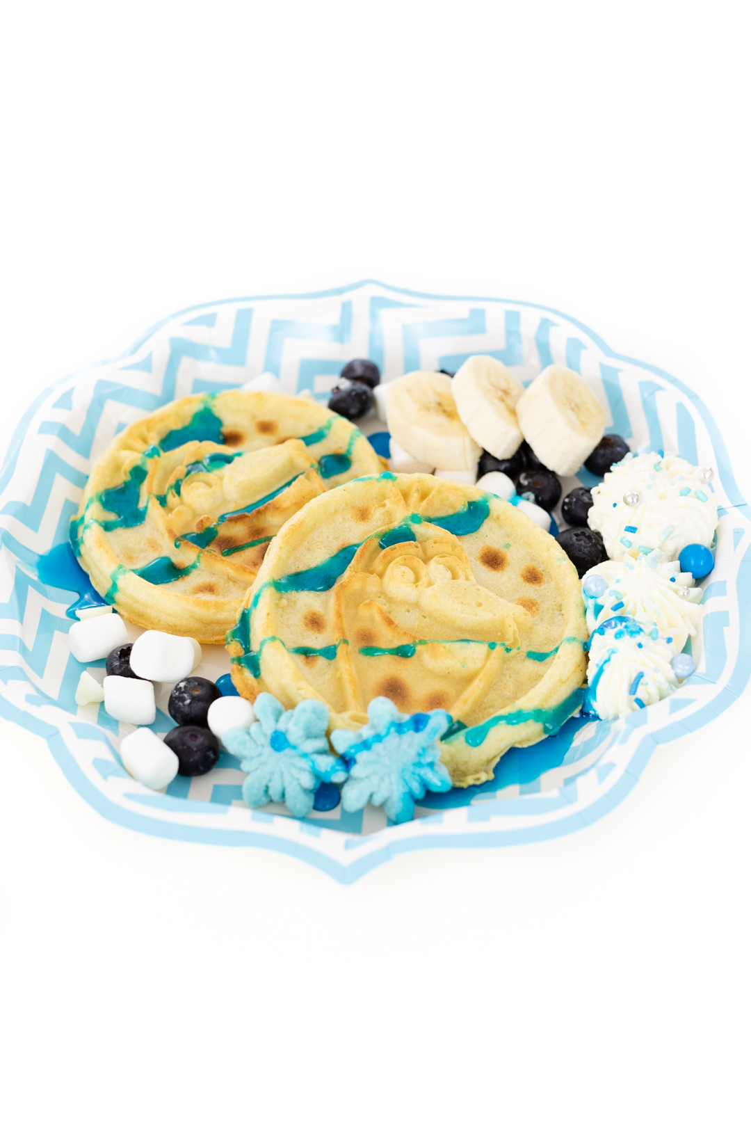 Olaf Waffles with Blue Syrup