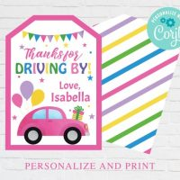 Editable Drive Through Birthday Parade Party Favor Tags