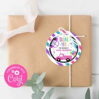 Editable Drive By Birthday Party Favor Gift Tag