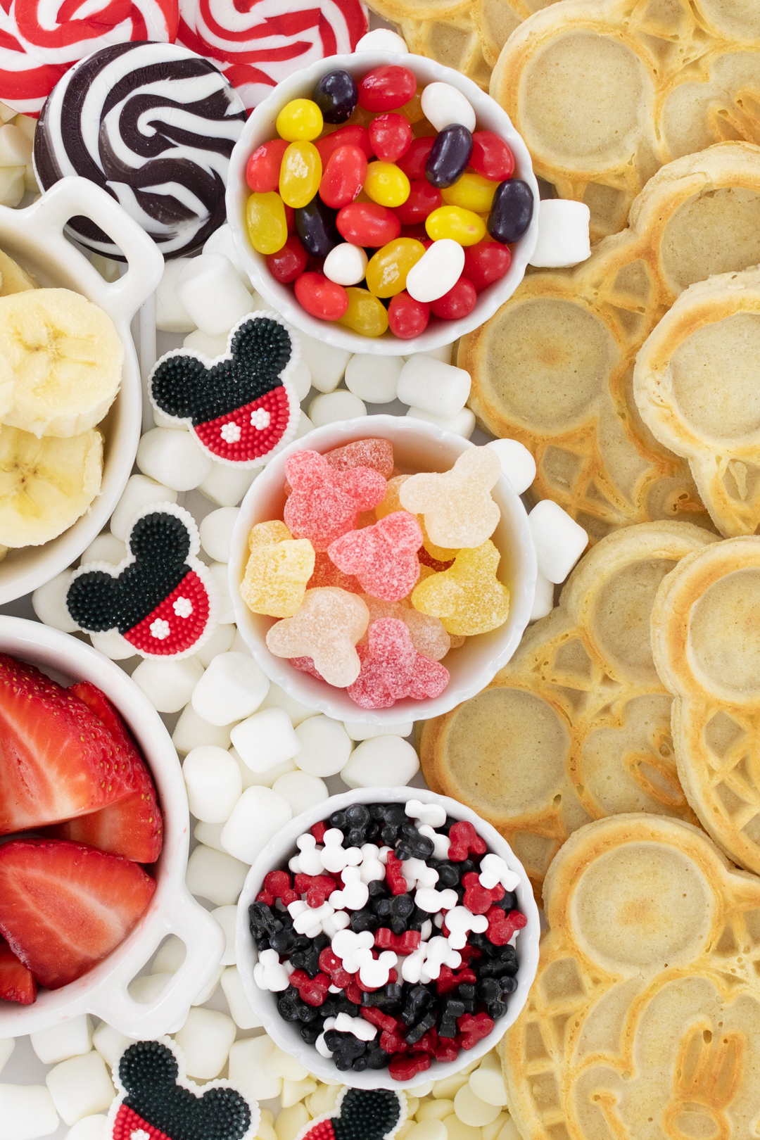 mickey mouse sprinkles, candies and jelly beans up close
