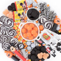 halloween themed candy board with mickey mouse theme