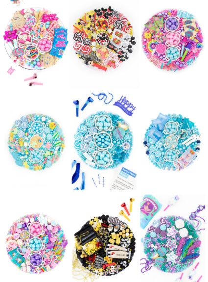 party candy boards with party themes like Trolls or Frozen Movie.