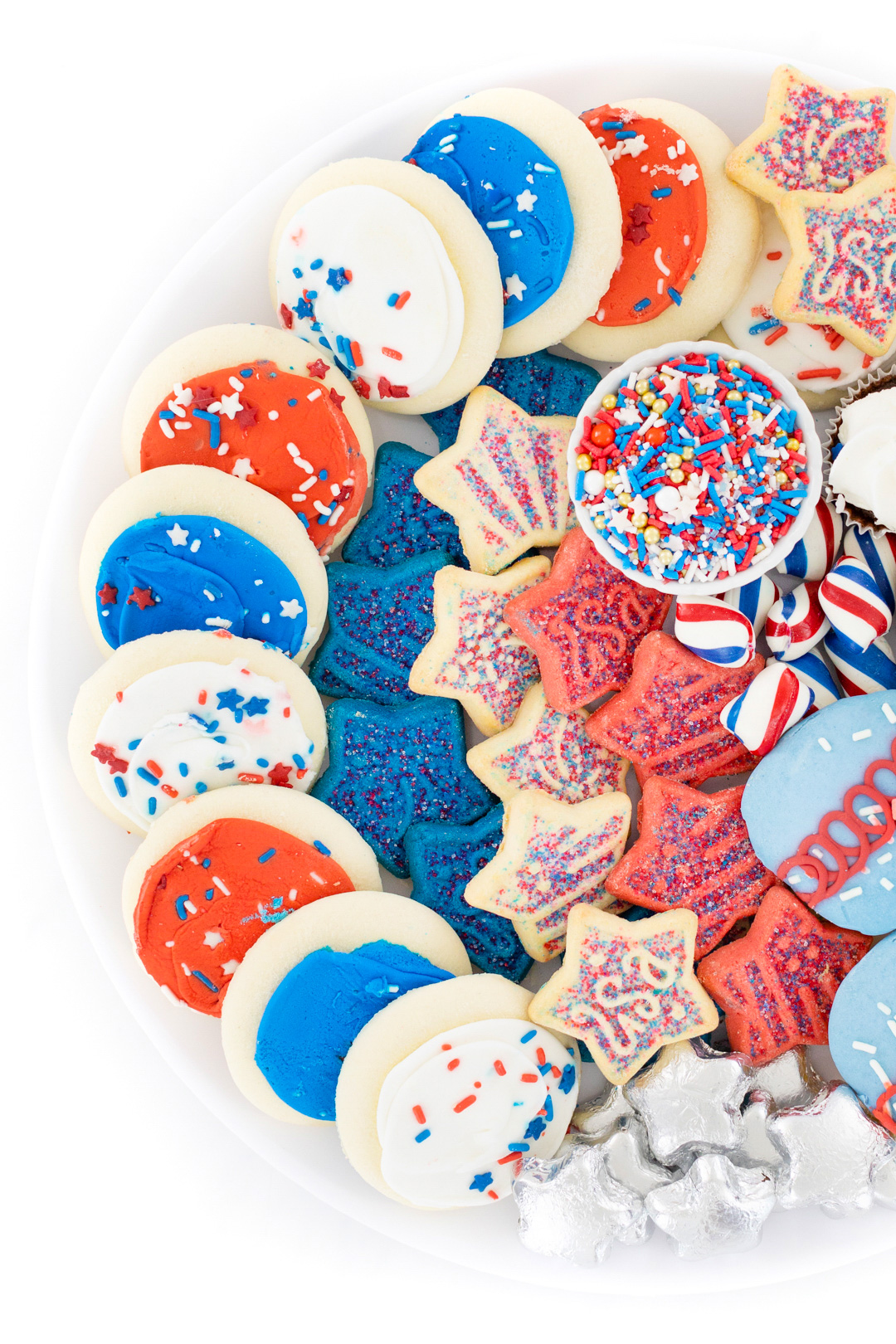 Cookies and treats decorated for patriotic holidays like 4th of july.