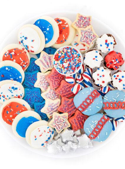 Patriotic dessert tray.