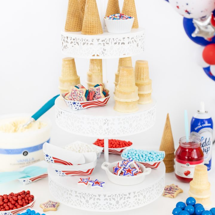 3-tiered ice cream buffet with patriotic inspired toppings