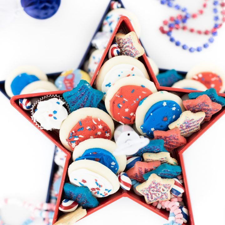 over top look at a tiered tray of patriotic themed desserts