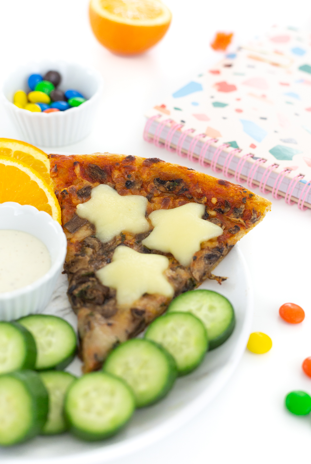 snack pizza with cookie cutter cheese stars