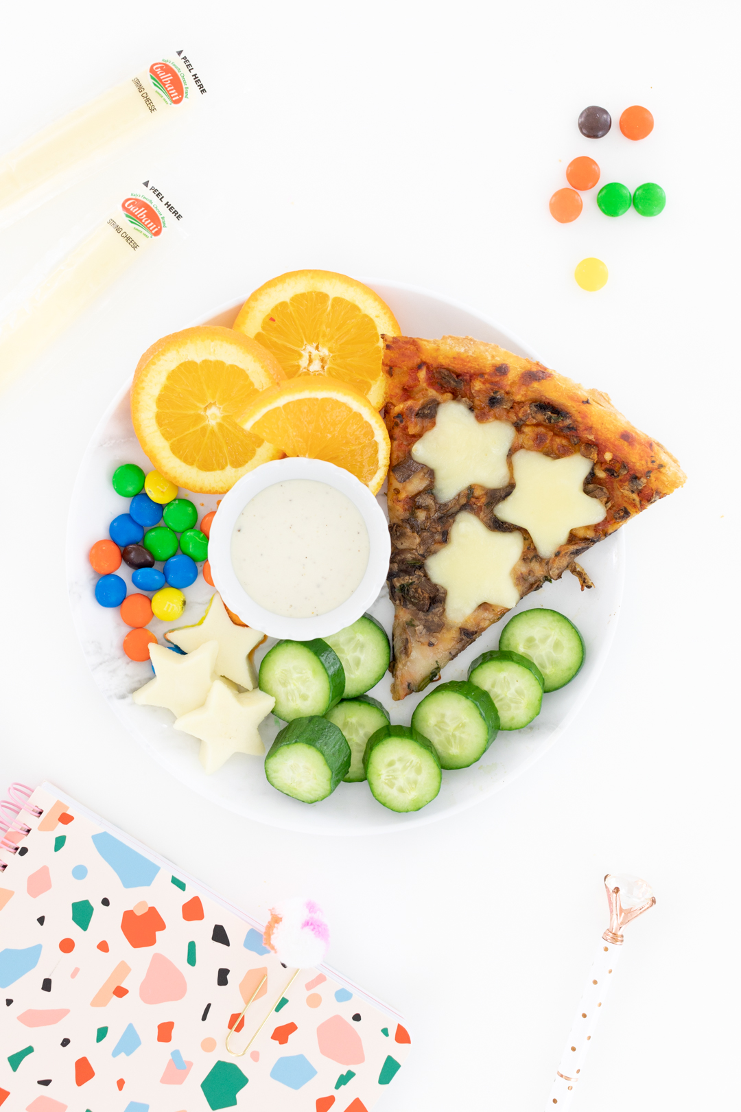 pizza snacks for kids with fruits and candies