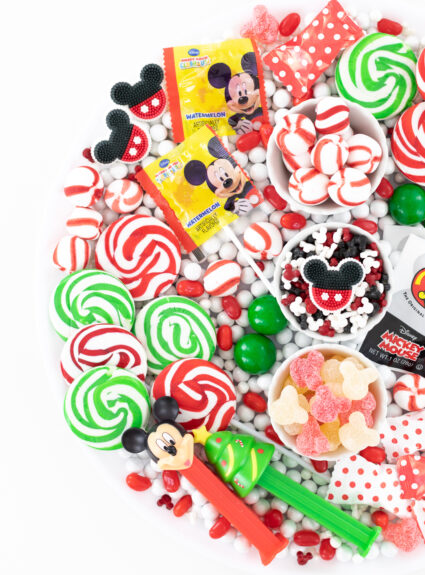 christmas lollipops that are swirled red and green.