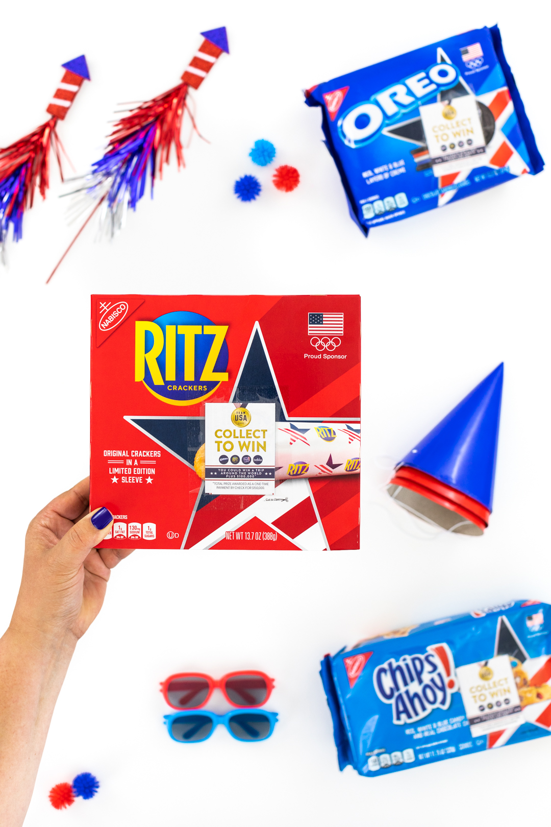 Ritz cracker box with latest promo on top