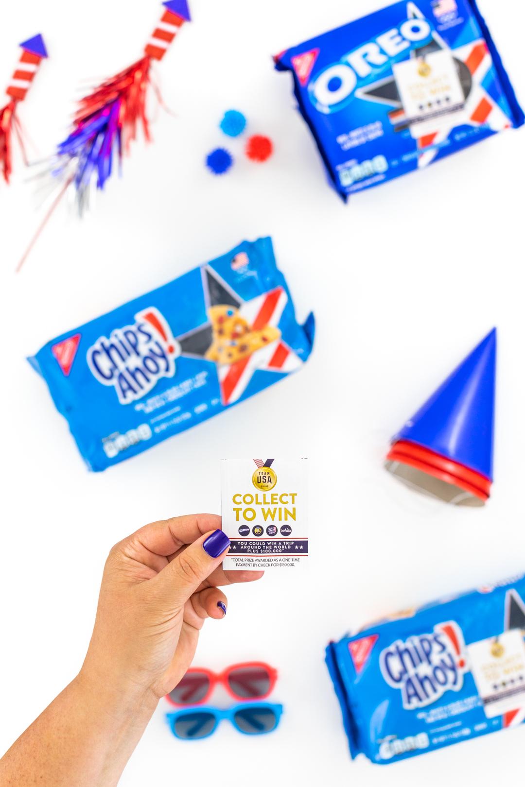 peeling off sweepstakes advertisement from cookie package