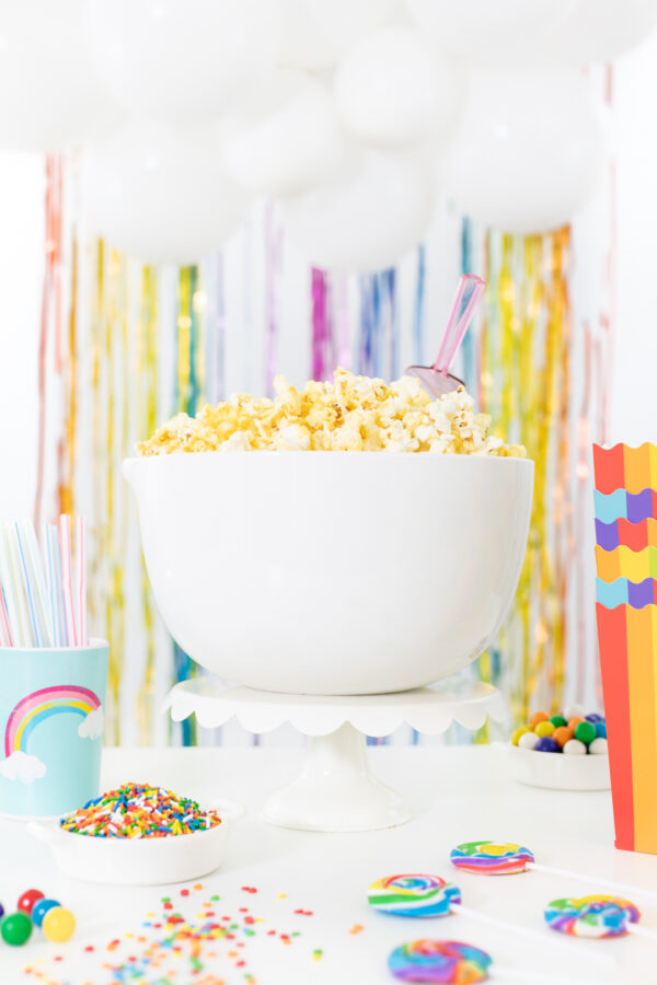 big bowl of party for rainbow popcorn bar