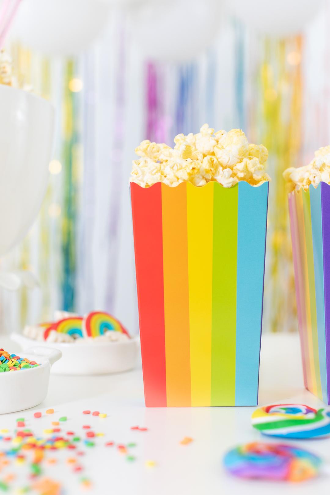 perfect rainbow party snack. Rainbow popcorn bucket.