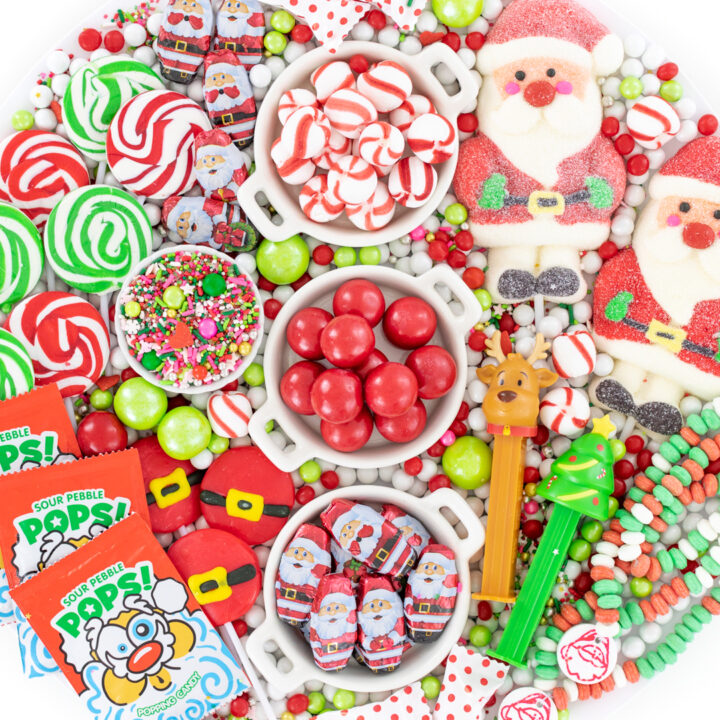 christmas candy with a santa theme from lollipops to milk chocolates