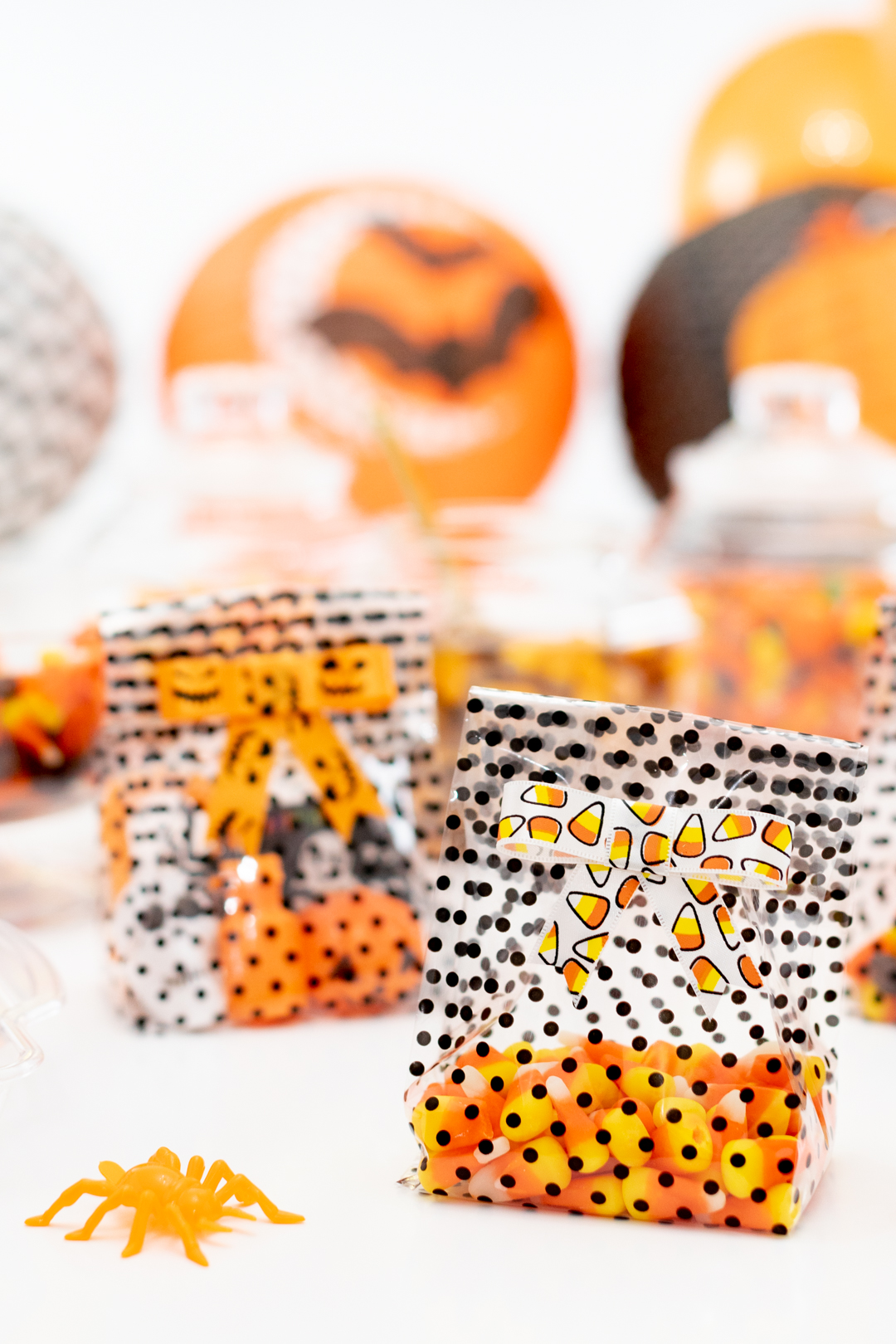 Halloween Treat Bags with DIY Ribbons tied on top.