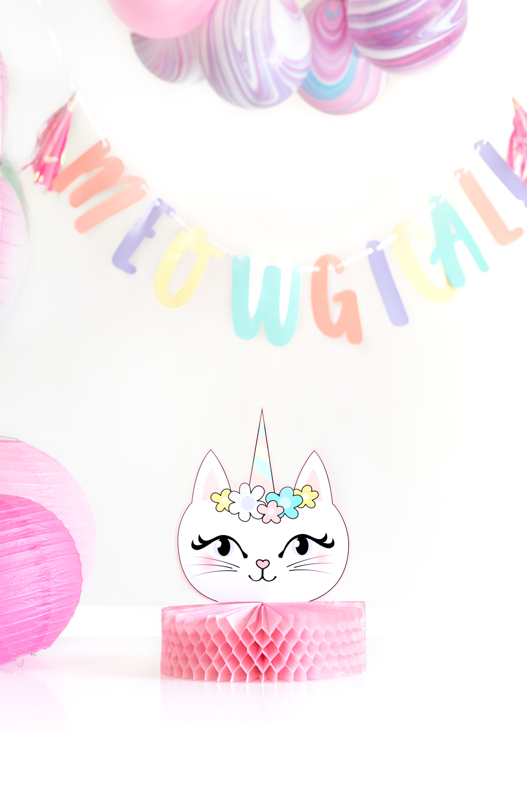 caticorn table centerpiece for parties