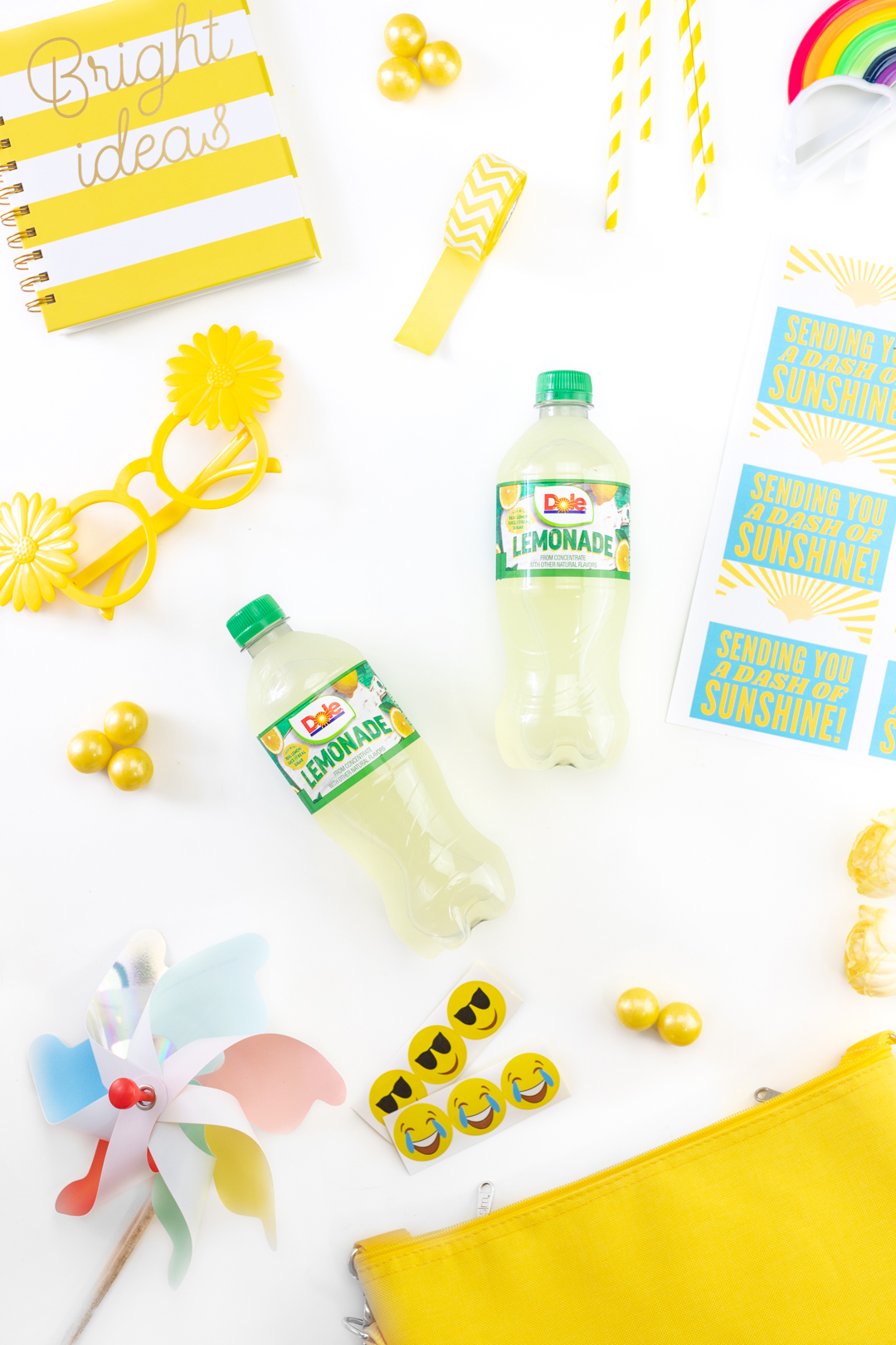 Dole Lemonade and other yellow themed gift basket fillers
