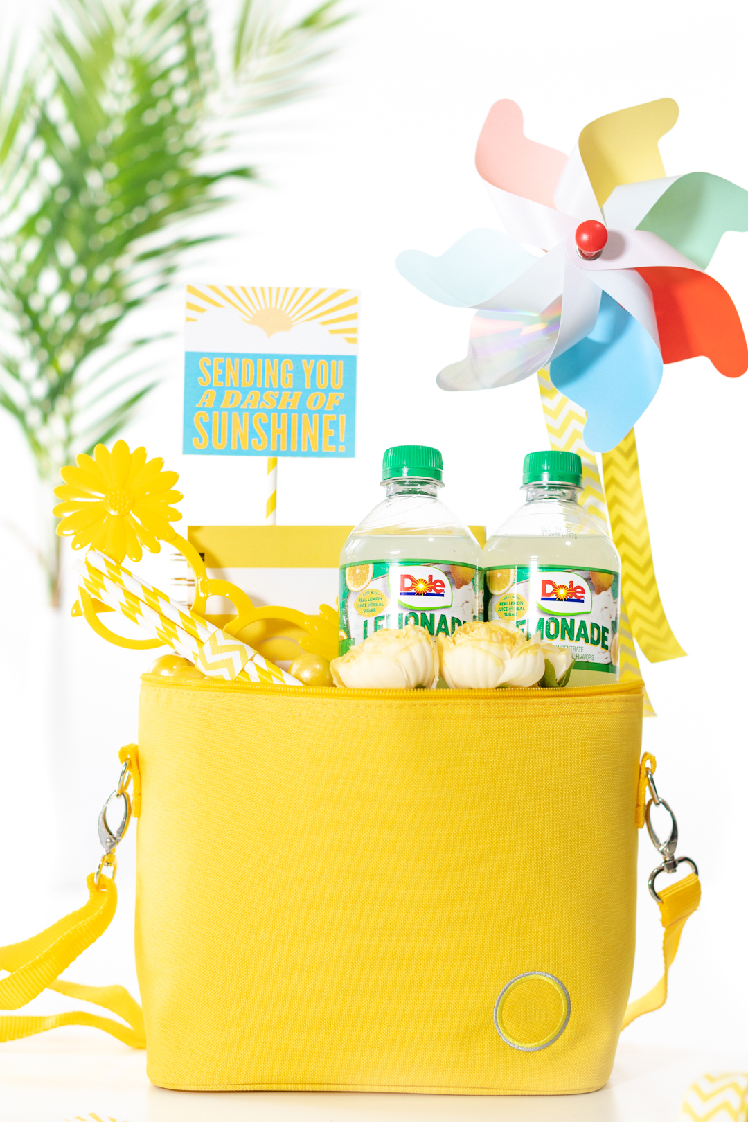 Fun sunshine mini cooler filled with cold drinks, novelty trinkets for a surprise delivery