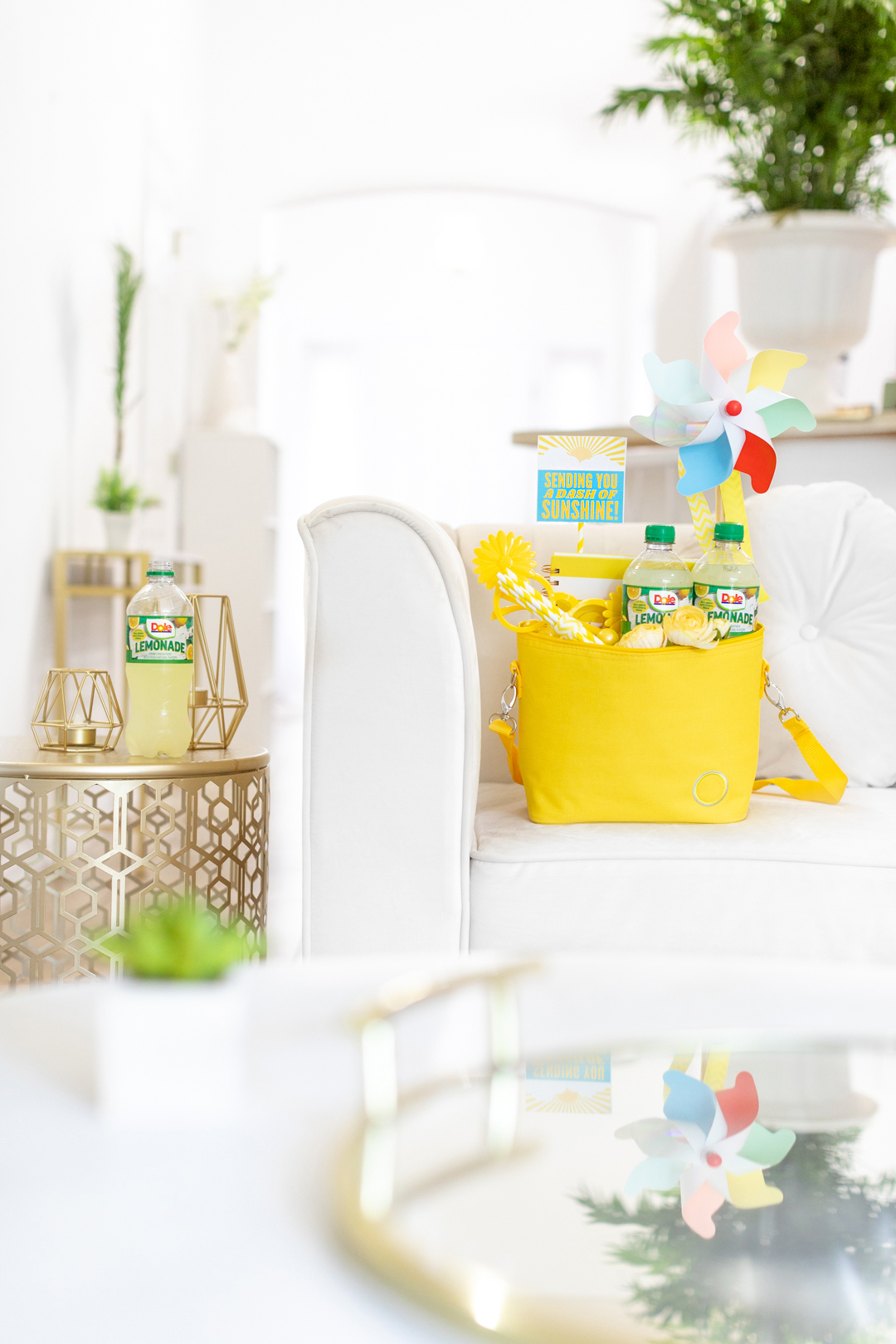 Living room setting with gift basket set on a chair