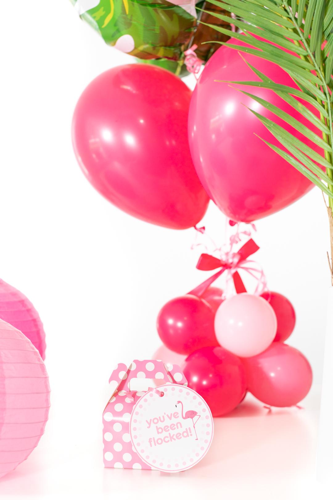 flamingo gift box. mini pink polka dot flamingo gift