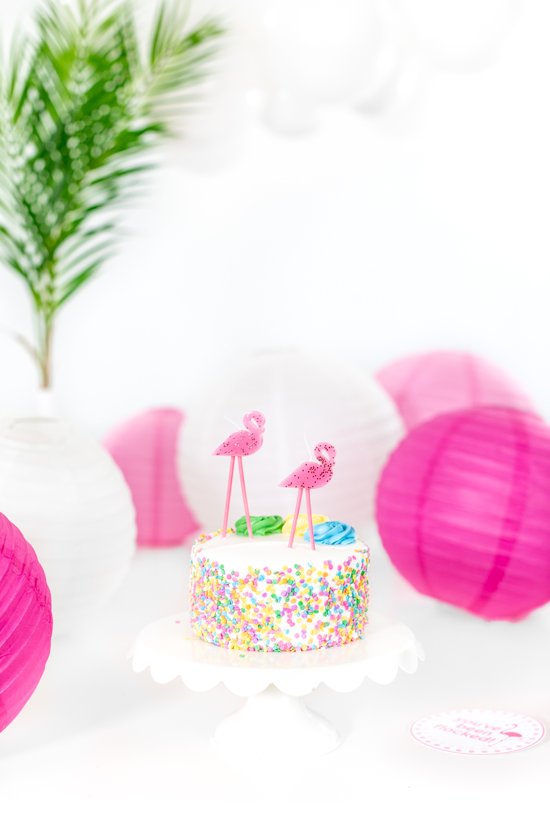 you've been flocked cake with the best flamingo candles