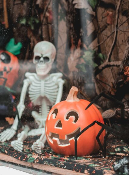 skeleton decoration and pumpkin jack o'lantern decoration for halloween