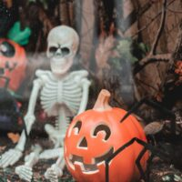 skeleton decoration and pumpkin jack o'lantern decoration for halloween