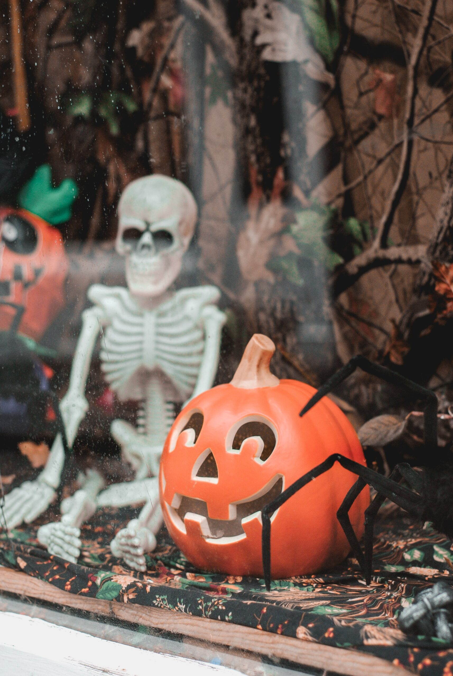 cute halloween decorations. Skeleton and pumpkin.