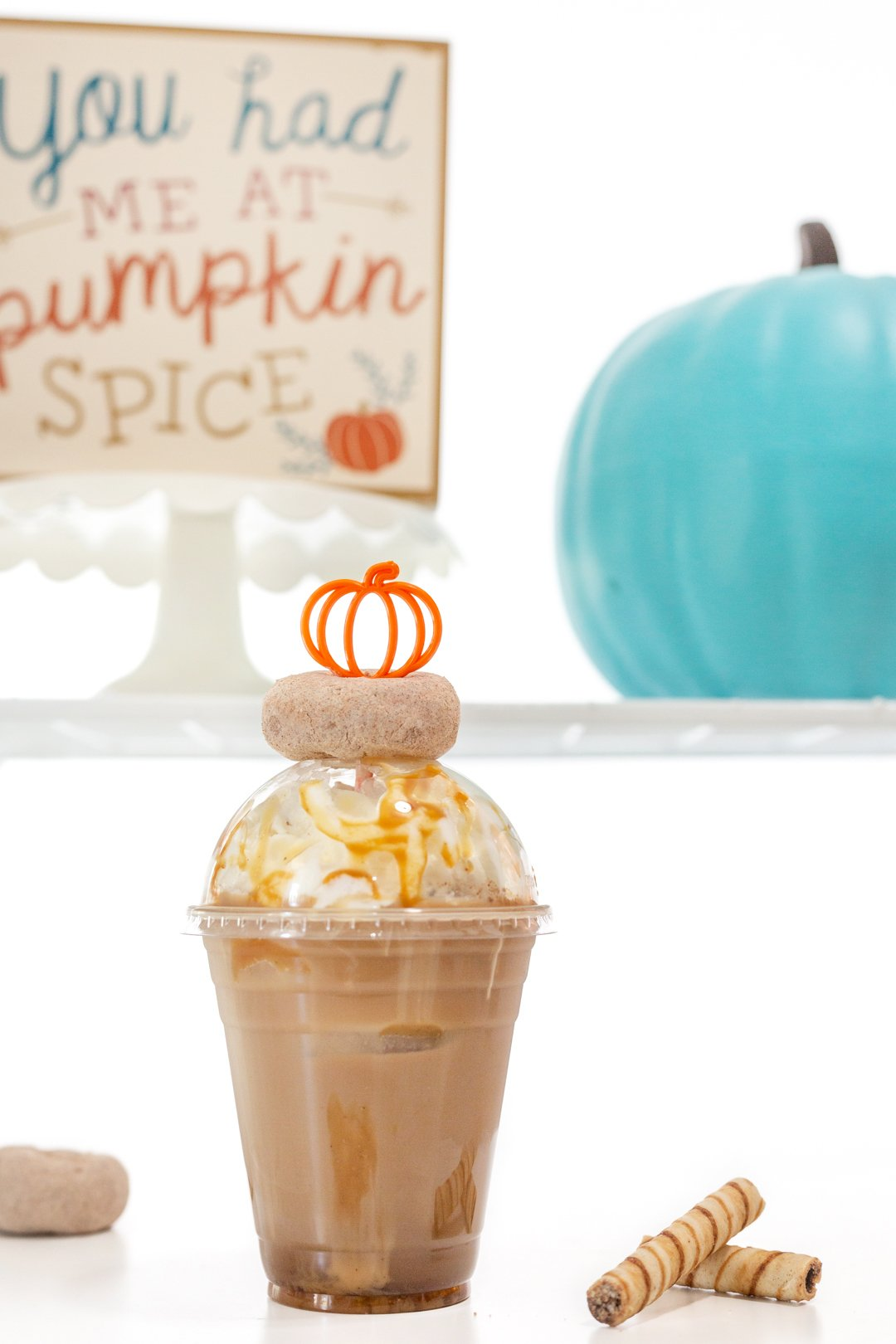 Cute pumpkin iced coffee for pumpkin spice iced coffee bar