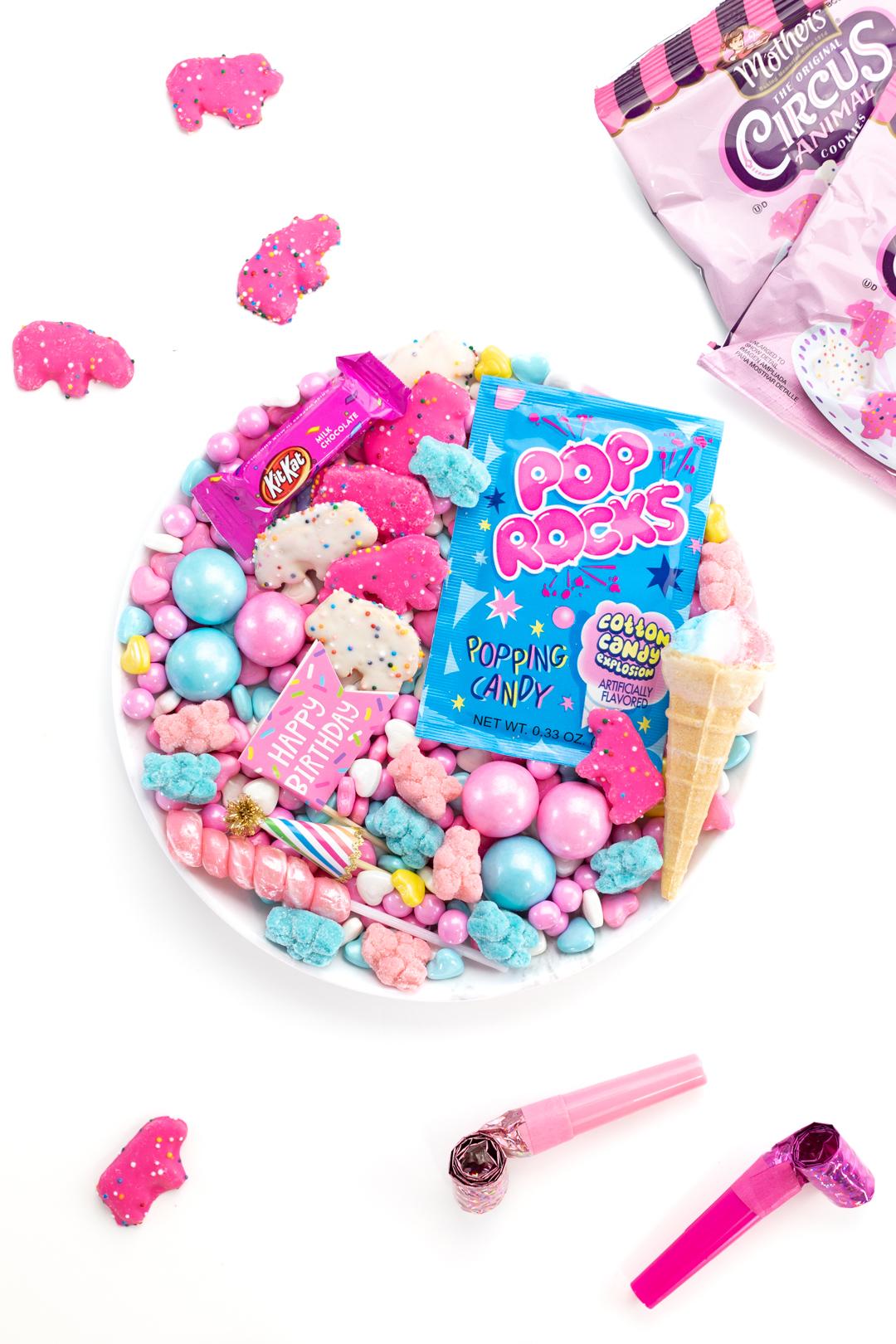 fun celebration candy charcuterie board