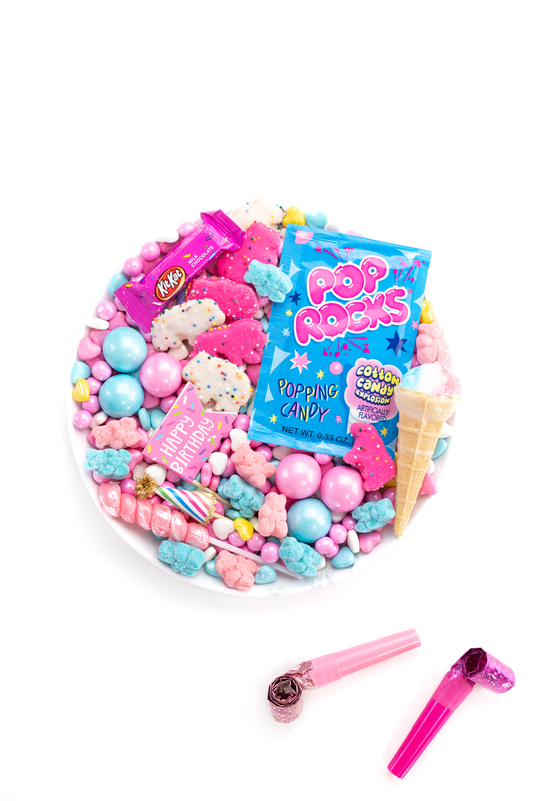 small candy board to celebrate birthdays with joy filled candy picks that are pink and blue.... classic birthday colors