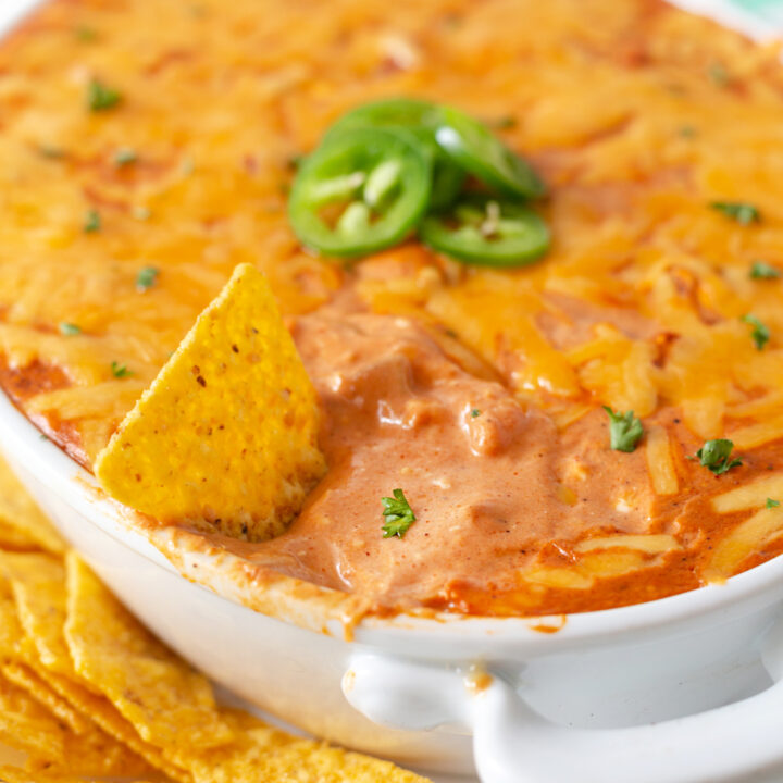 Delicious fiesta dip up close with sliced jalapenos and melty cheese