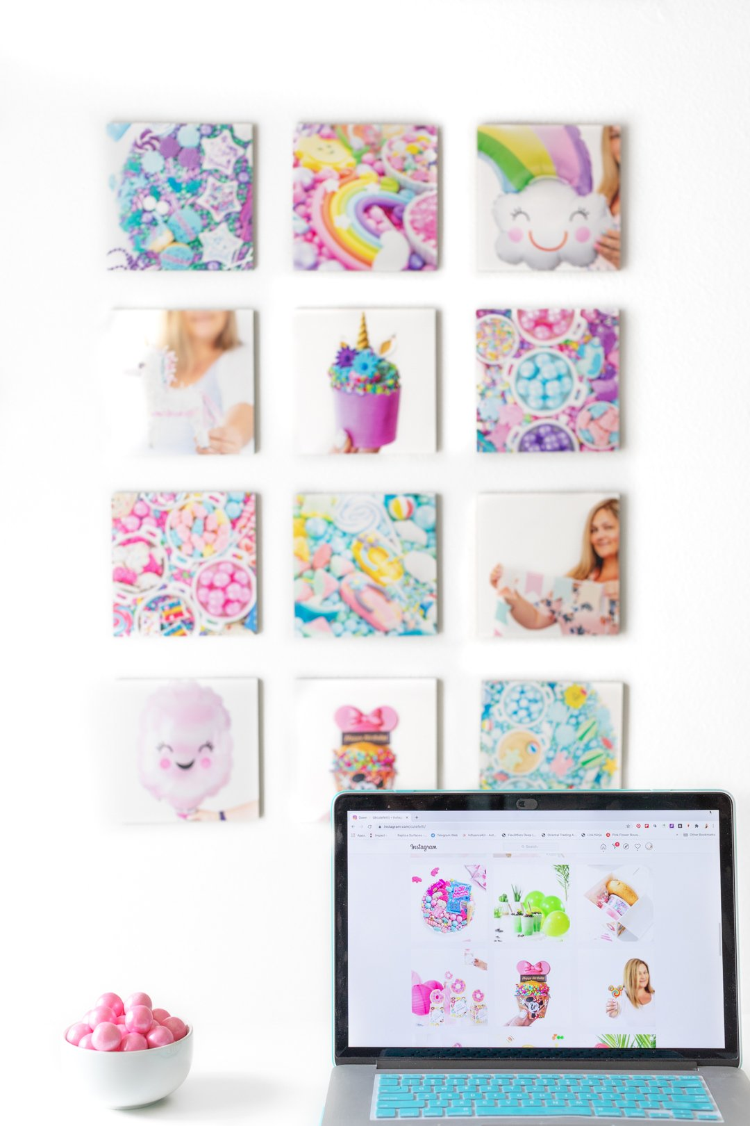 wall art photo display made with instagram photos