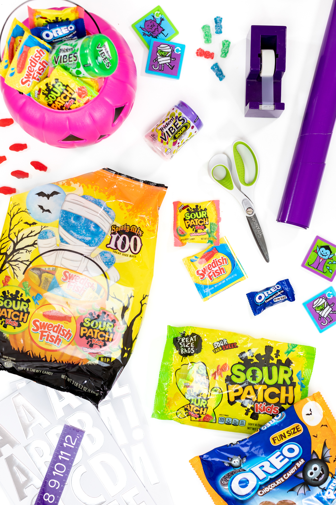 items and candy needed to make surprise halloween boxes for friends
