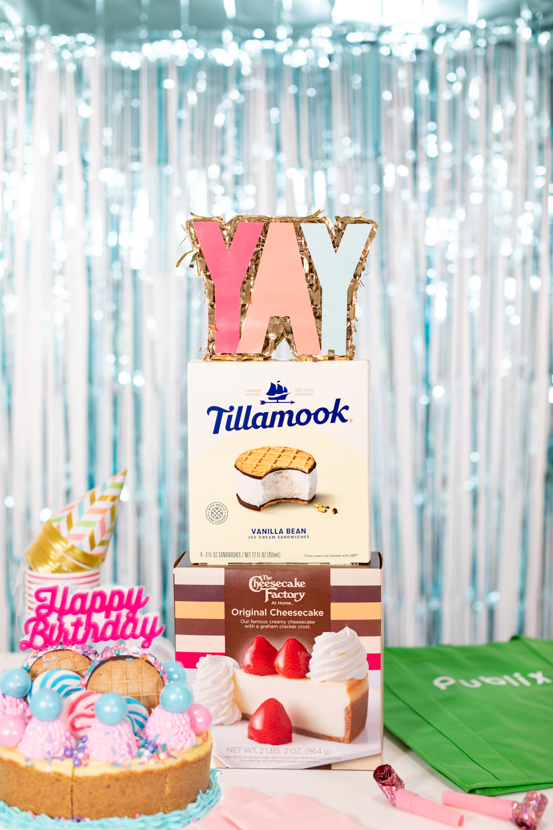 Tillamook ice cream sandwiches and cheesecake factory cheesecake and party supplies
