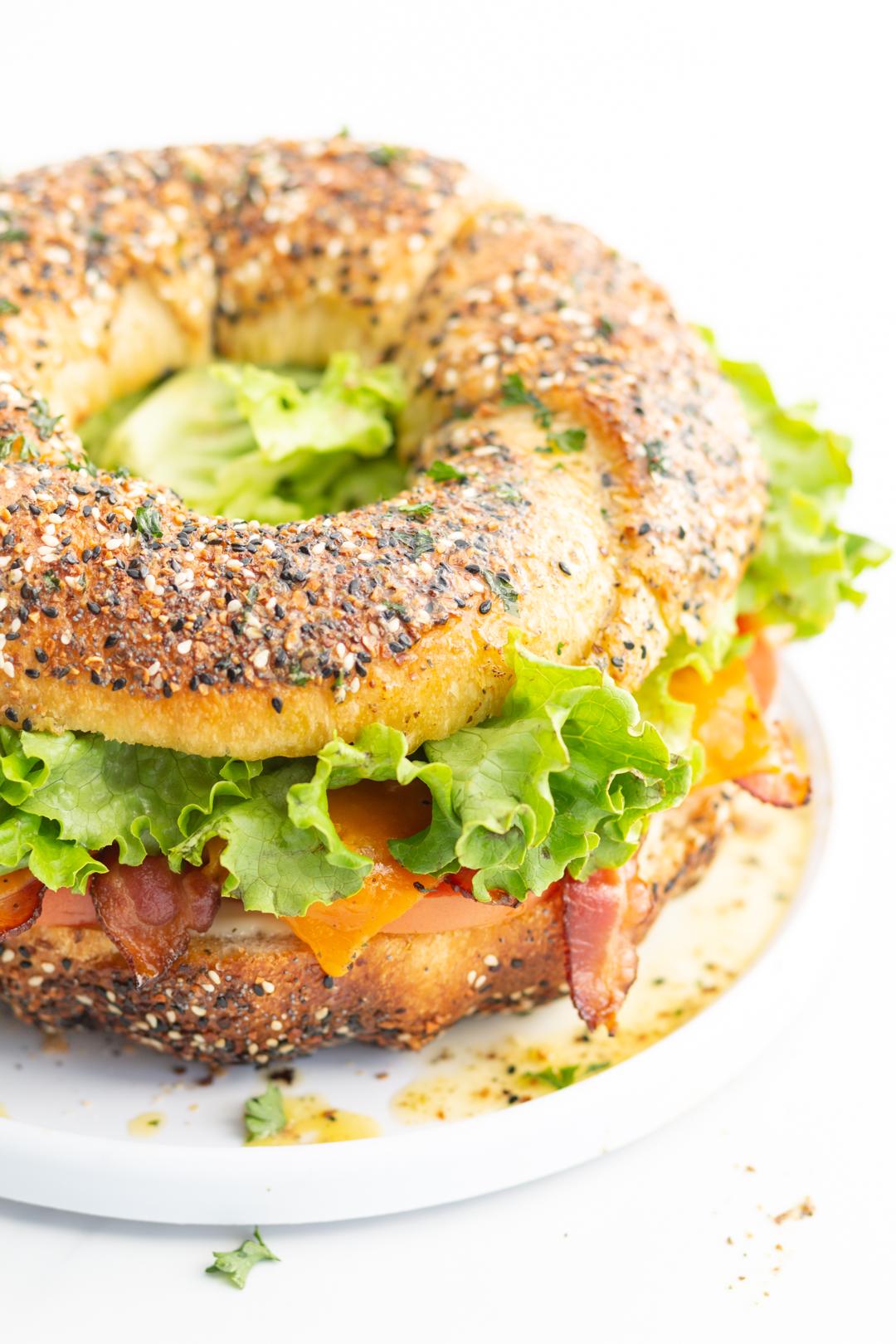 huge blt sandwich on bundt pan bread