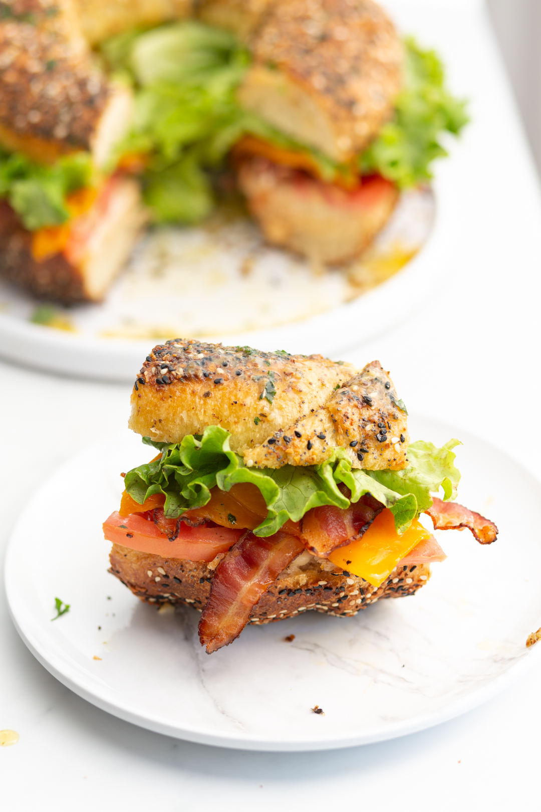 BLT slider with bacon, lettuce and tomato