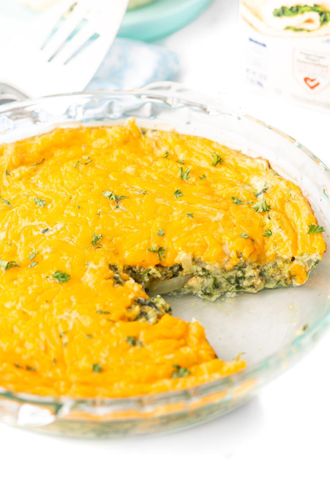 no crust quiche loaded with spinach and onions