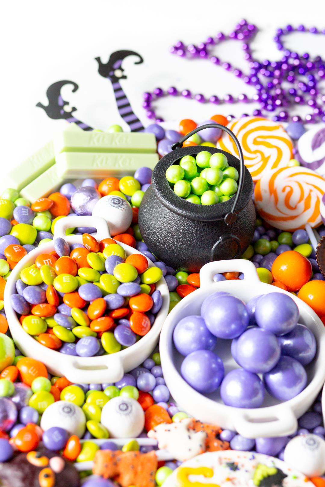 witch themed candy tray for halloween parties