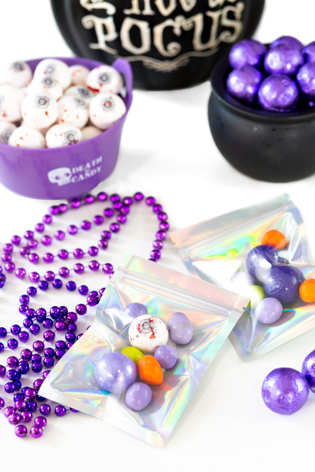 iridescent candy favor bags