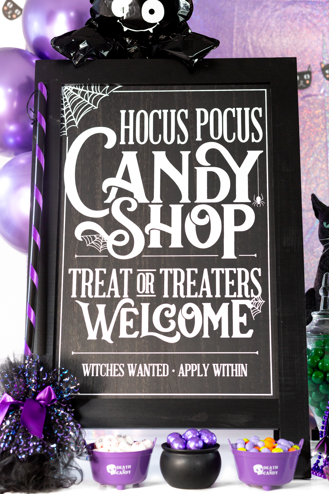 hocus pocus candy shop stand up sign