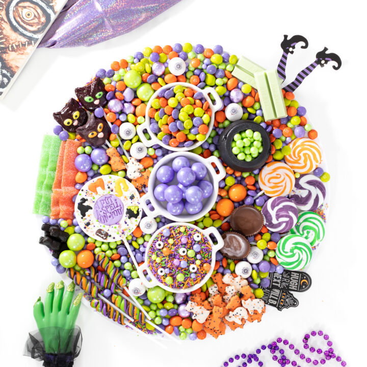 hocus pocus candy chartcuterie board for halloween. Eyeball gumballs, witch kitkats