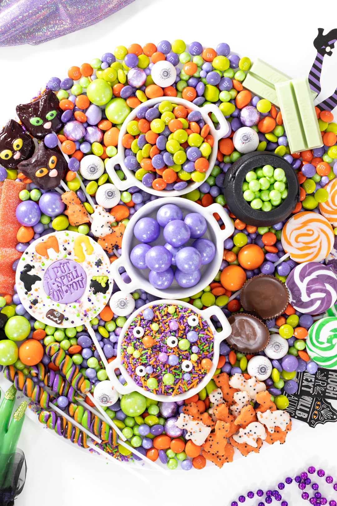 witch inspired candy with gumballs, halloween m&ms and swirl lollipops