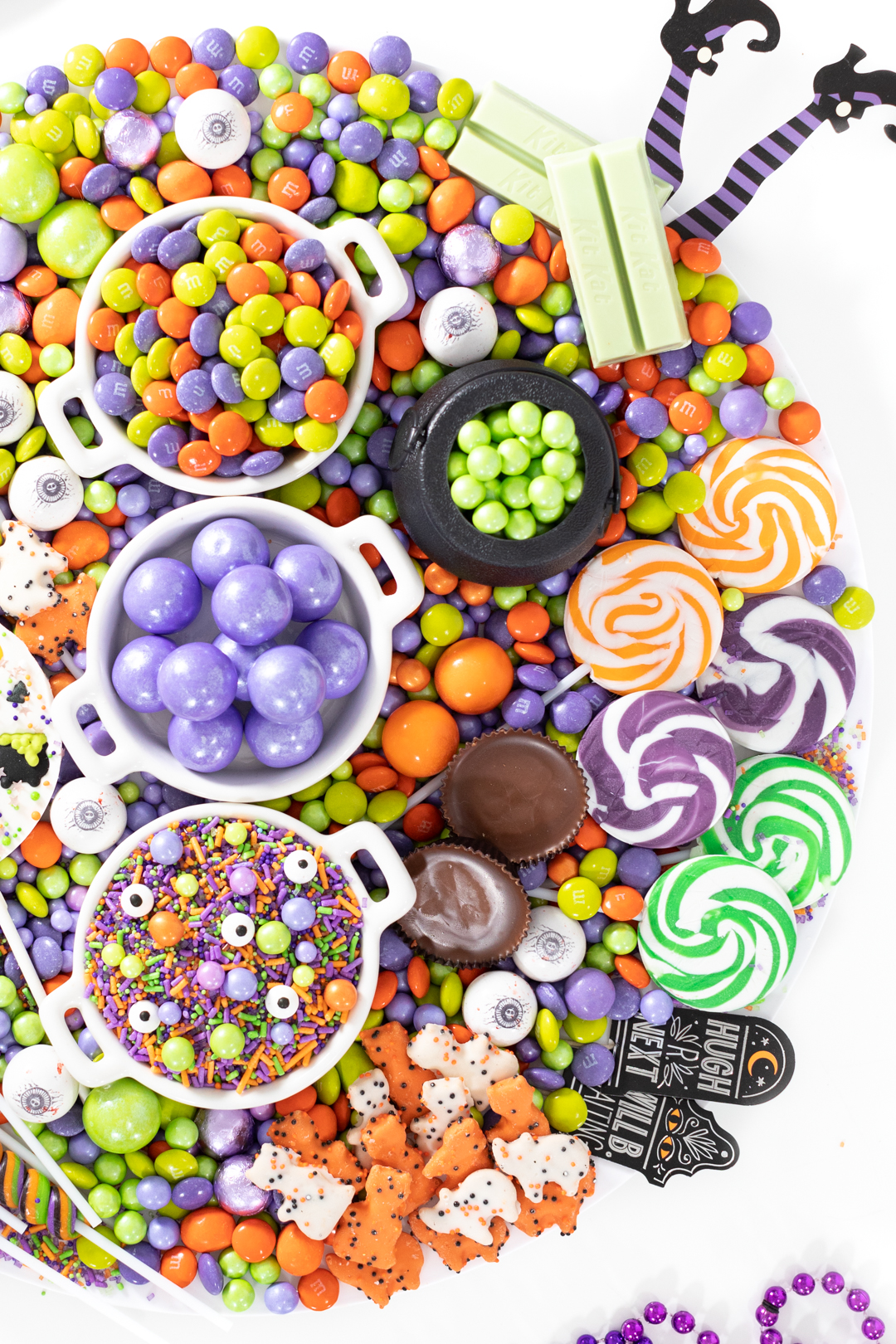 witch party dessert platter filled with candies and sweets