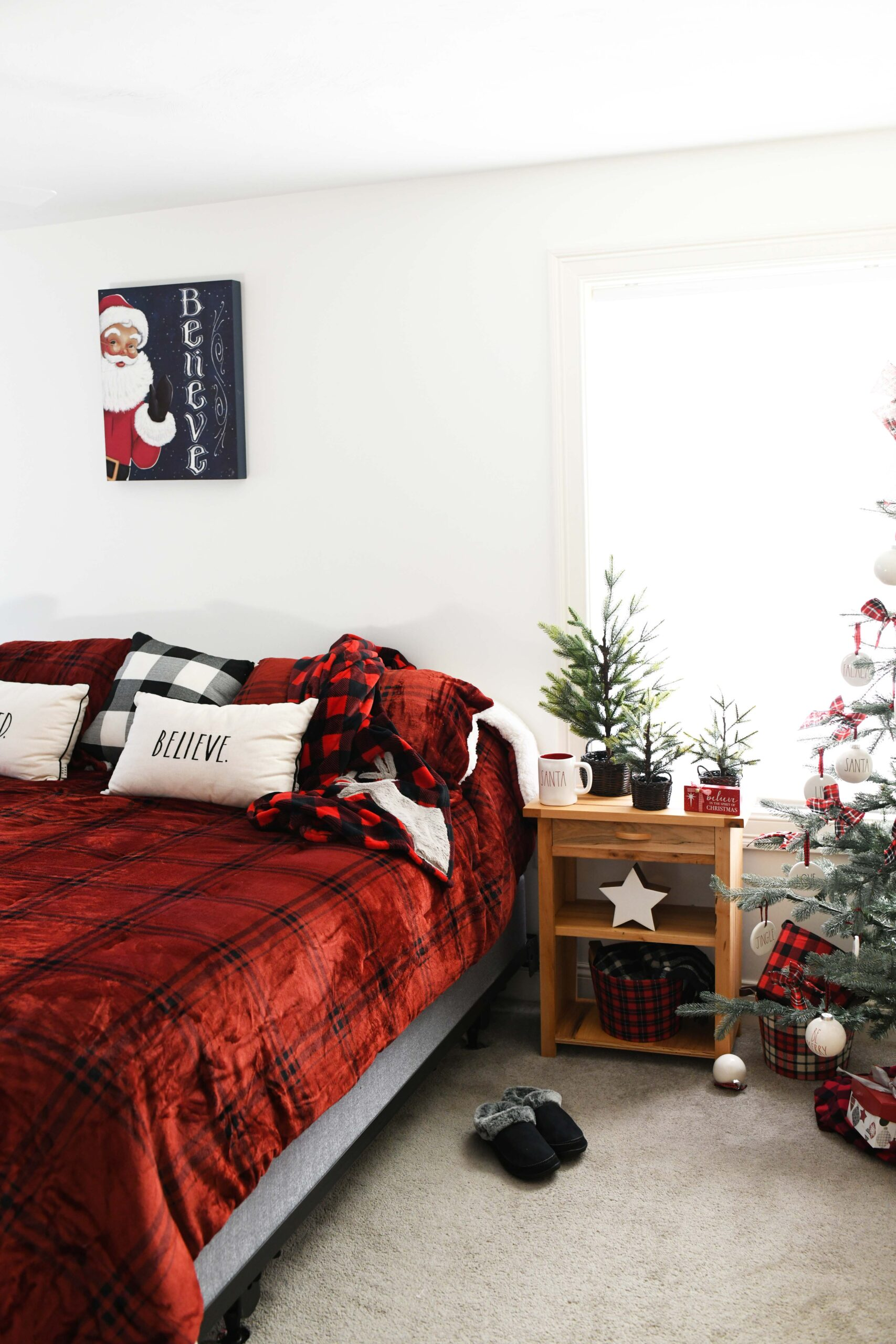 Buffalo Check Comforter in a Chrismtas bedroom setting