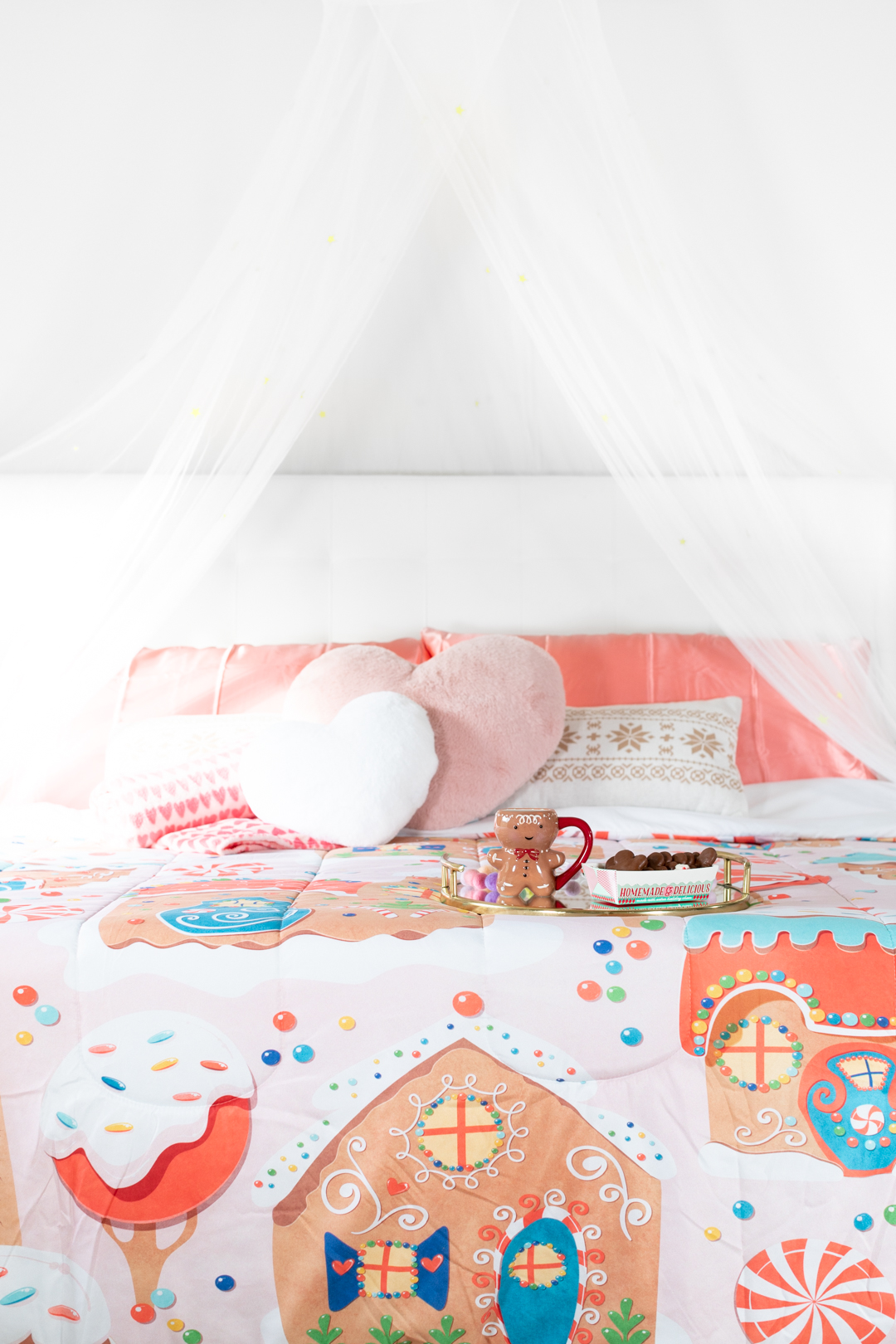 pretty holiday bed transformation