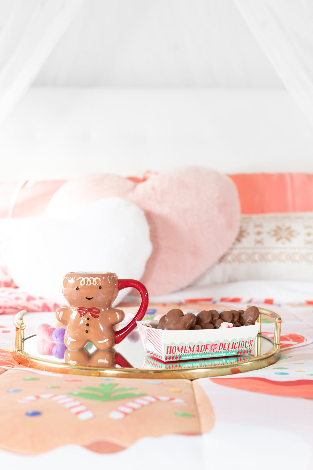 adorable gingerbread mug on snack tray in christmas setting